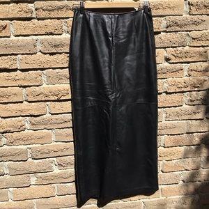 Danier Leather Vintage Long Pencil Leather Skirt